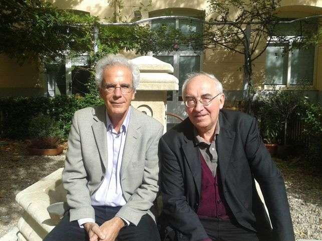 Pierre Dardot (izda) y Christian Laval (dcha) en su última visita a Barcelona en octubre de 2015